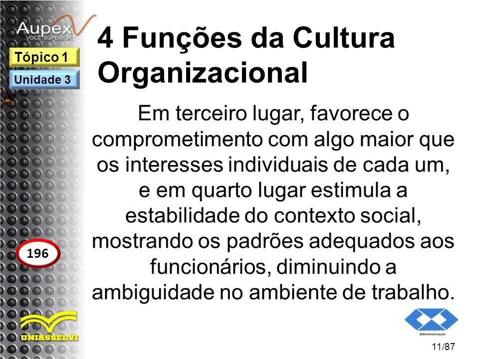 4 Funções da Cultura Organizacional Em terceiro lugar, favorece o comprometimento com algo maior que os interesses individuais de cada um, e em quarto