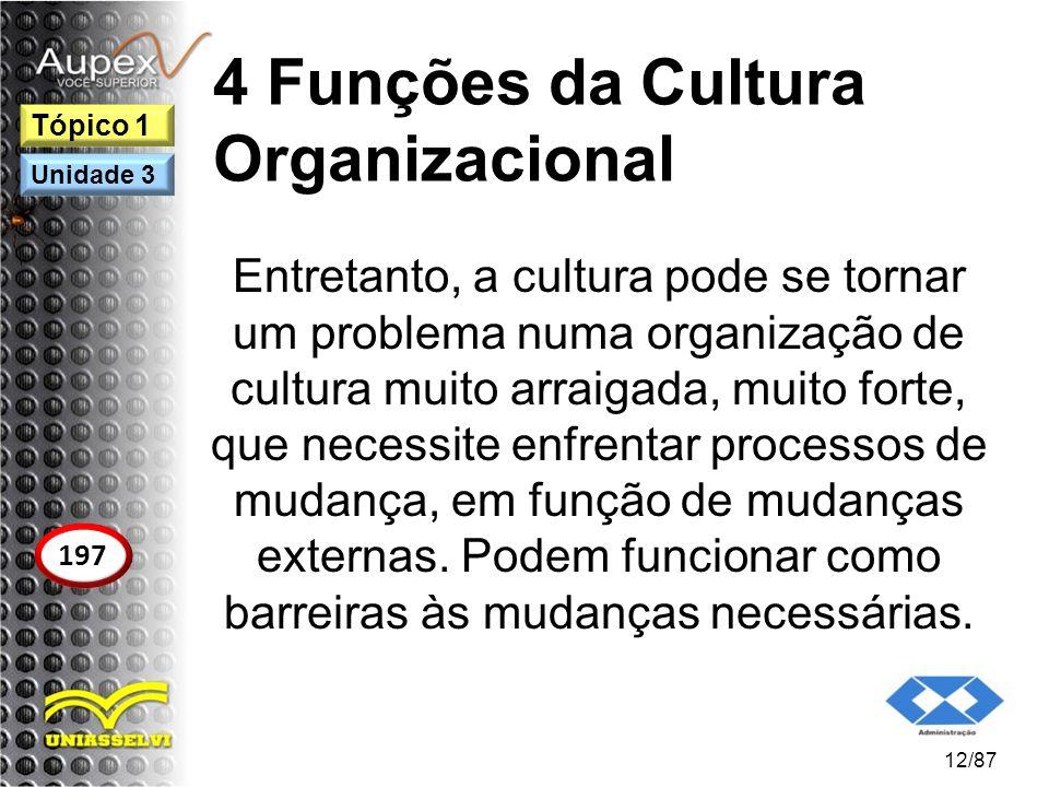 4 Funções da Cultura Organizacional Entretanto, a cultura pode se tornar um problema numa organização de cultura muito arraigada, muito forte, que nec