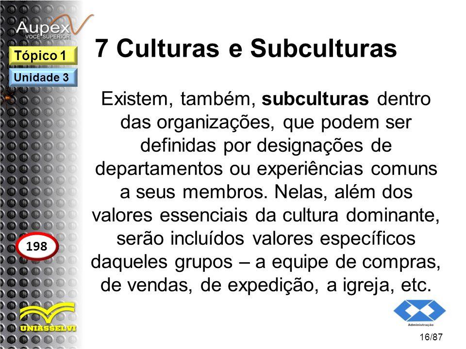 7 Culturas e Subculturas Existem, também, subculturas dentro das organizações, que podem ser definidas por designações de departamentos ou experiência