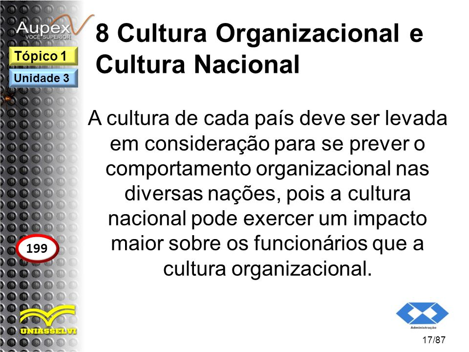 8 Cultura Organizacional e Cultura Nacional A cultura de cada país deve ser levada em consideração para se prever o comportamento organizacional nas d