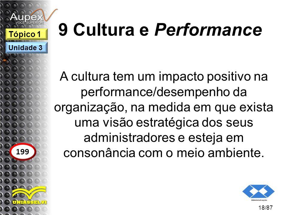 9 Cultura e Performance A cultura tem um impacto positivo na performance/desempenho da organização, na medida em que exista uma visão estratégica dos