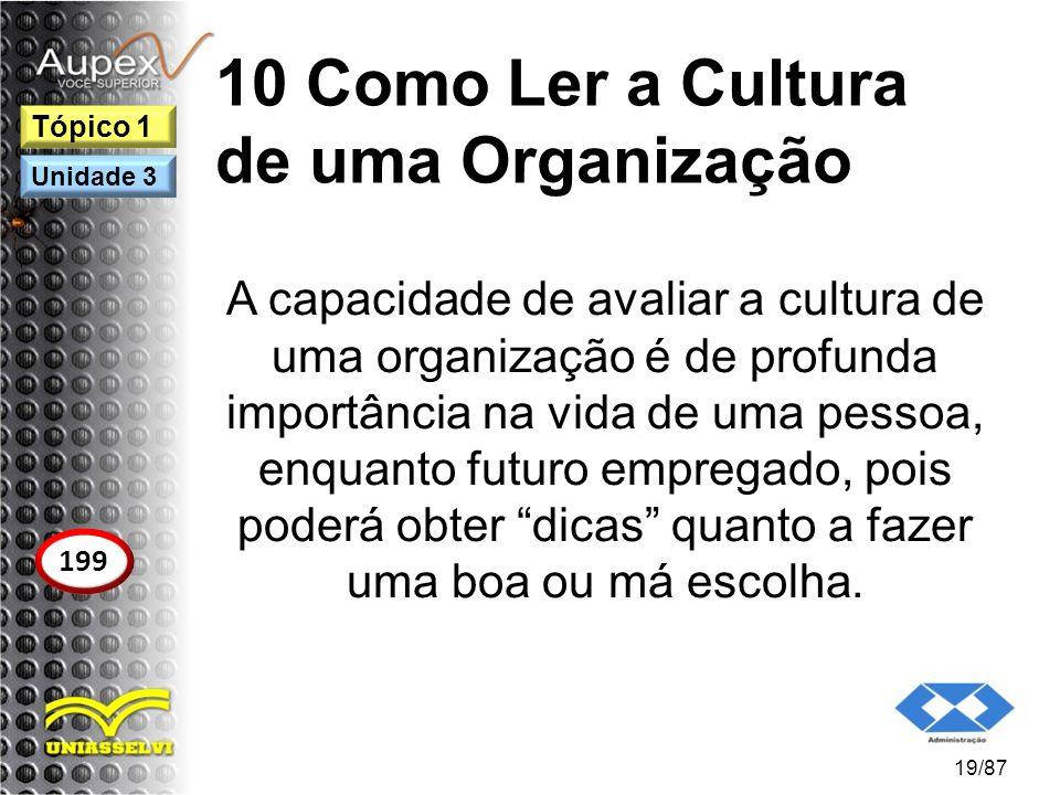 10 Como Ler a Cultura de uma Organização A capacidade de avaliar a cultura de uma organização é de profunda importância na vida de uma pessoa, enquant