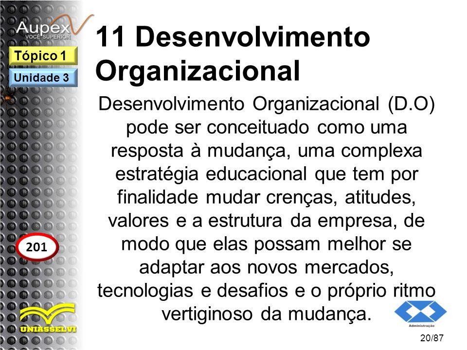 11 Desenvolvimento Organizacional Desenvolvimento Organizacional (D.O) pode ser conceituado como uma resposta à mudança, uma complexa estratégia educa