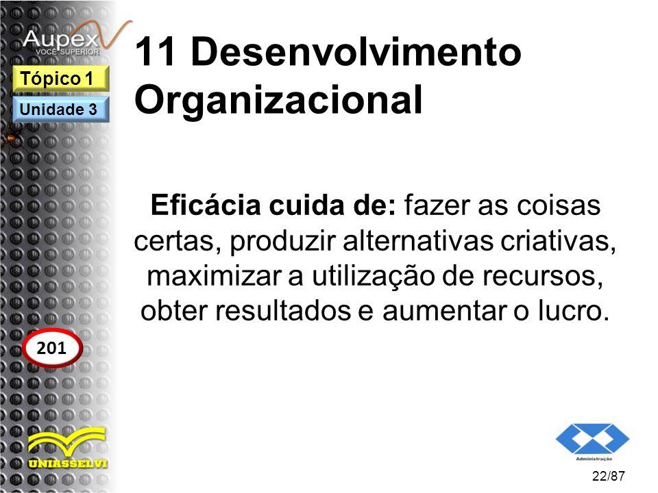 11 Desenvolvimento Organizacional Eficácia cuida de: fazer as coisas certas, produzir alternativas criativas, maximizar a utilização de recursos, obte