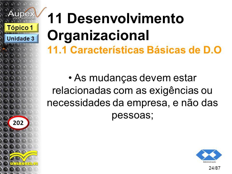 11 Desenvolvimento Organizacional 11.1 Características Básicas de D.O As mudanças devem estar relacionadas com as exigências ou necessidades da empres