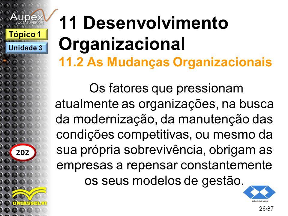 11 Desenvolvimento Organizacional 11.2 As Mudanças Organizacionais Os fatores que pressionam atualmente as organizações, na busca da modernização, da