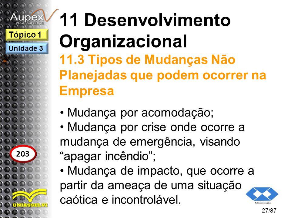 11 Desenvolvimento Organizacional 11.3 Tipos de Mudanças Não Planejadas que podem ocorrer na Empresa Mudança por acomodação; Mudança por crise onde oc