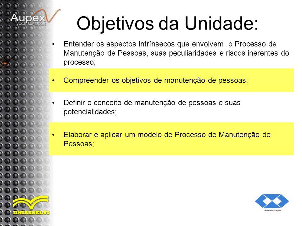 Objetivos da Unidade: Entender os aspectos intrínsecos que envolvem o Processo de Manutenção de Pessoas, suas peculiaridades e riscos inerentes do pro