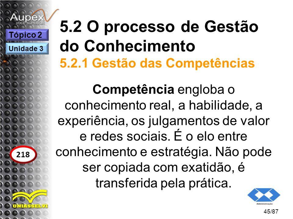 5.2 O processo de Gestão do Conhecimento 5.2.1 Gestão das Competências Competência engloba o conhecimento real, a habilidade, a experiência, os julgam