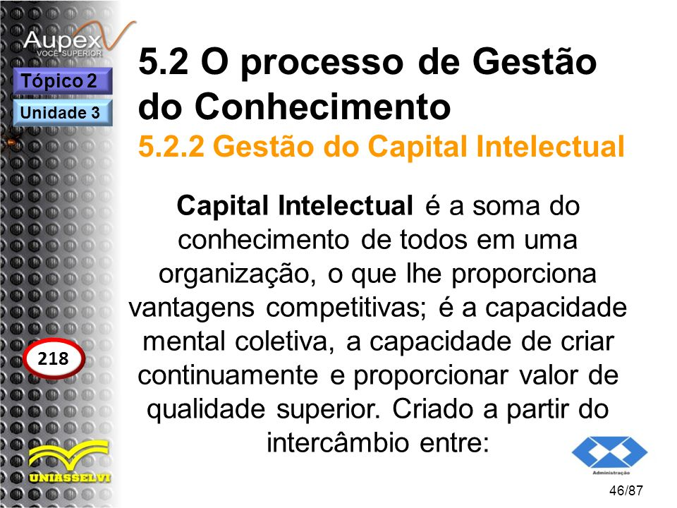 5.2 O processo de Gestão do Conhecimento 5.2.2 Gestão do Capital Intelectual Capital Intelectual é a soma do conhecimento de todos em uma organização,