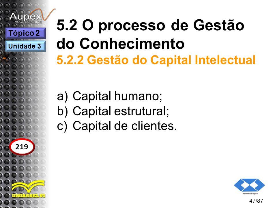5.2 O processo de Gestão do Conhecimento 5.2.2 Gestão do Capital Intelectual a)Capital humano; b)Capital estrutural; c)Capital de clientes. 47/87 Tópi