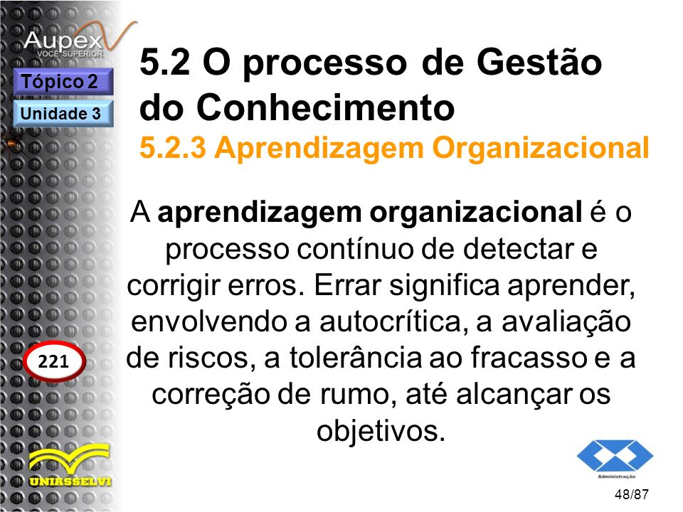 5.2 O processo de Gestão do Conhecimento 5.2.3 Aprendizagem Organizacional A aprendizagem organizacional é o processo contínuo de detectar e corrigir