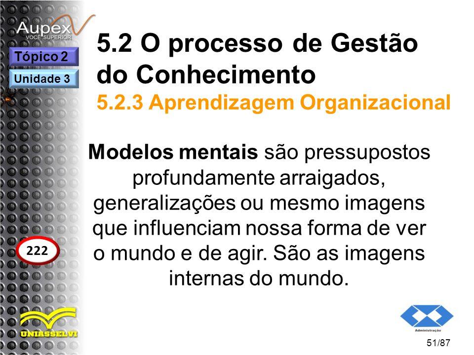 5.2 O processo de Gestão do Conhecimento 5.2.3 Aprendizagem Organizacional Modelos mentais são pressupostos profundamente arraigados, generalizações o