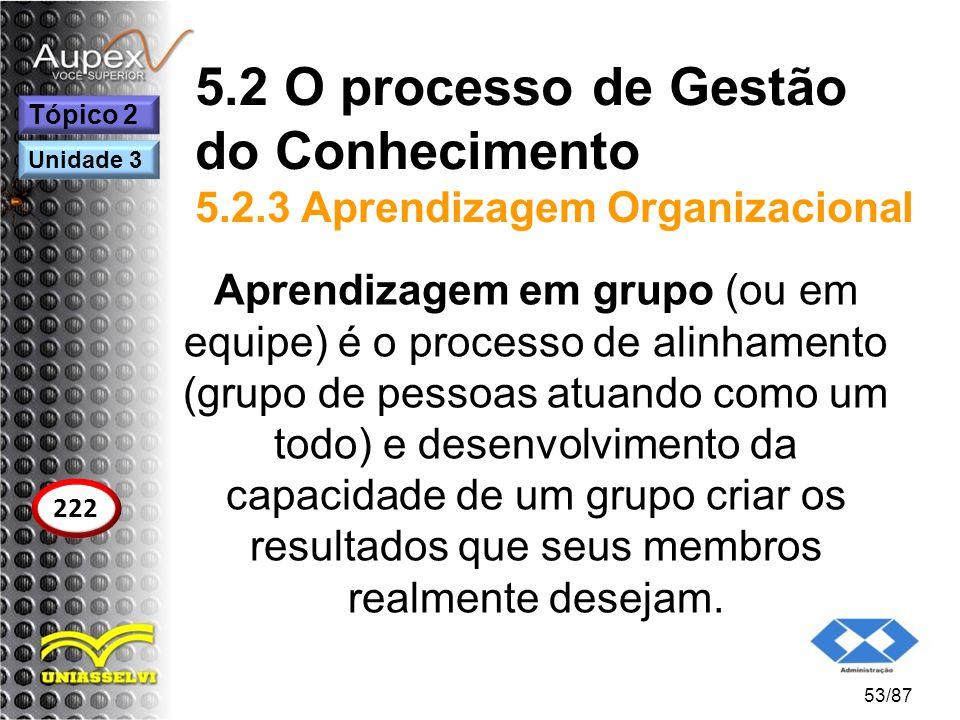 5.2 O processo de Gestão do Conhecimento 5.2.3 Aprendizagem Organizacional Aprendizagem em grupo (ou em equipe) é o processo de alinhamento (grupo de