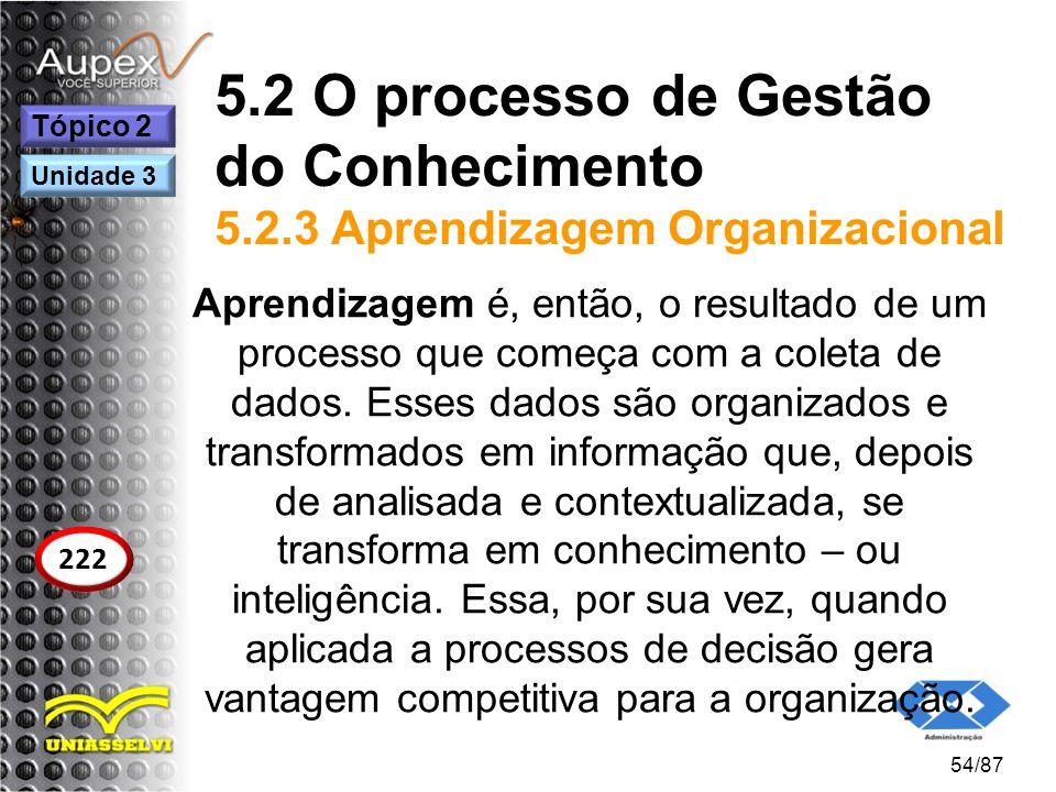 5.2 O processo de Gestão do Conhecimento 5.2.3 Aprendizagem Organizacional Aprendizagem é, então, o resultado de um processo que começa com a coleta d