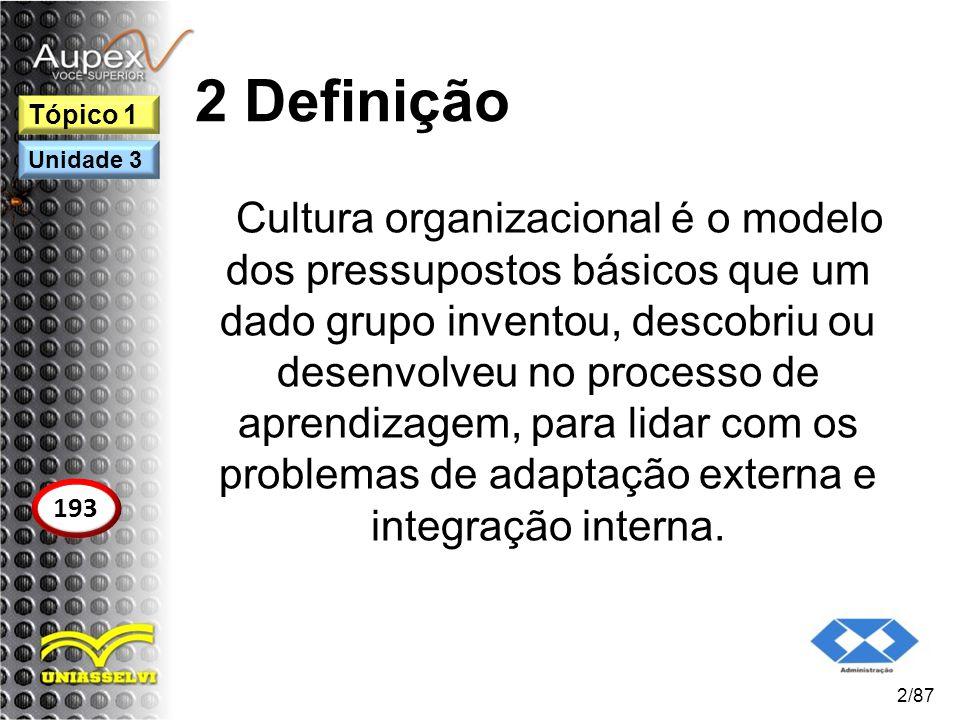 2 Definição Cultura organizacional é o modelo dos pressupostos básicos que um dado grupo inventou, descobriu ou desenvolveu no processo de aprendizage