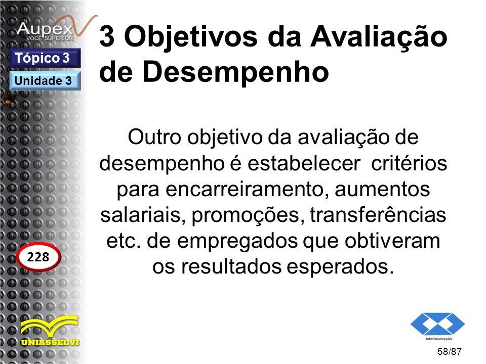 3 Objetivos da Avaliação de Desempenho Outro objetivo da avaliação de desempenho é estabelecer critérios para encarreiramento, aumentos salariais, pro