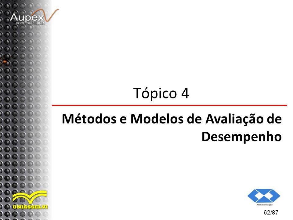 62/87 Tópico 4 Métodos e Modelos de Avaliação de Desempenho