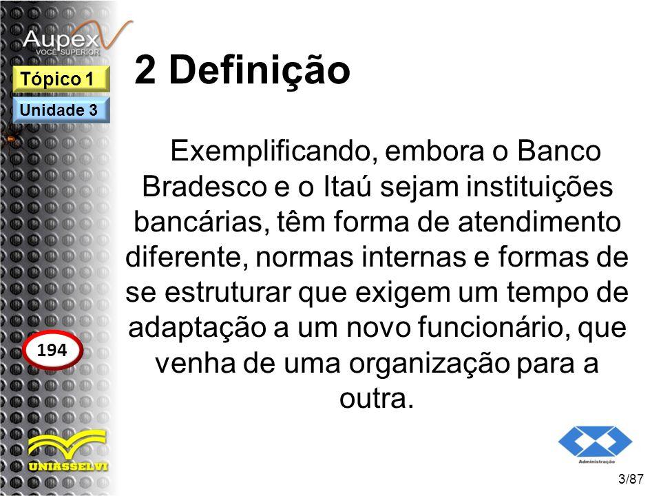 2 Definição Exemplificando, embora o Banco Bradesco e o Itaú sejam instituições bancárias, têm forma de atendimento diferente, normas internas e forma