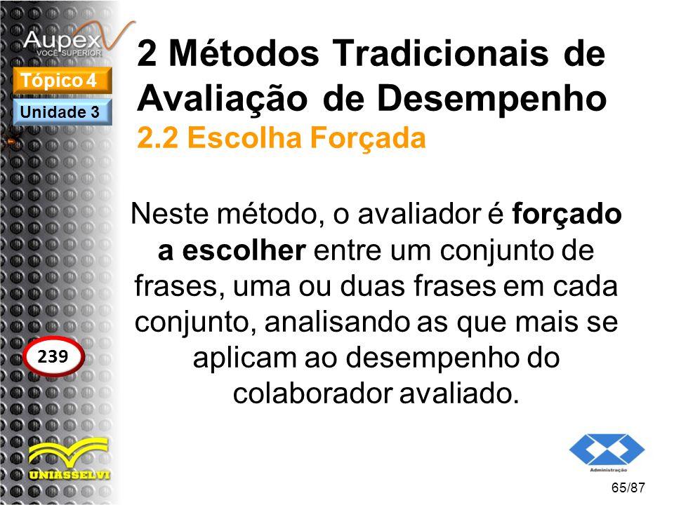 2 Métodos Tradicionais de Avaliação de Desempenho 2.2 Escolha Forçada Neste método, o avaliador é forçado a escolher entre um conjunto de frases, uma