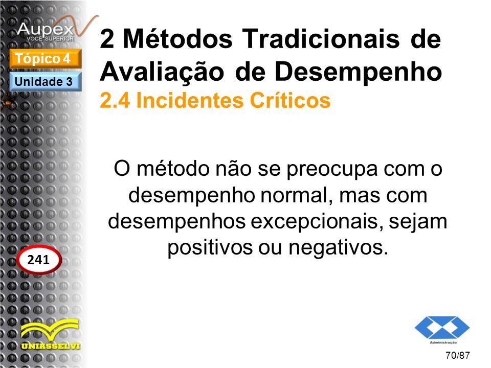 2 Métodos Tradicionais de Avaliação de Desempenho 2.4 Incidentes Críticos O método não se preocupa com o desempenho normal, mas com desempenhos excepc