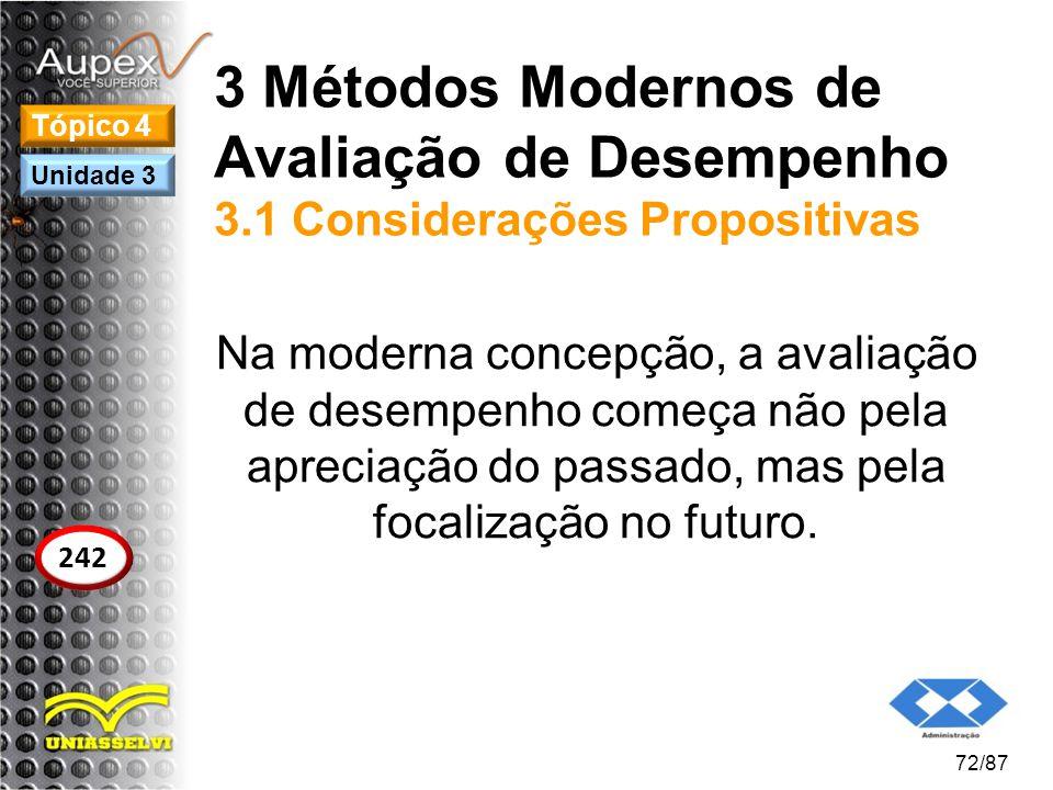 3 Métodos Modernos de Avaliação de Desempenho 3.1 Considerações Propositivas Na moderna concepção, a avaliação de desempenho começa não pela apreciaçã