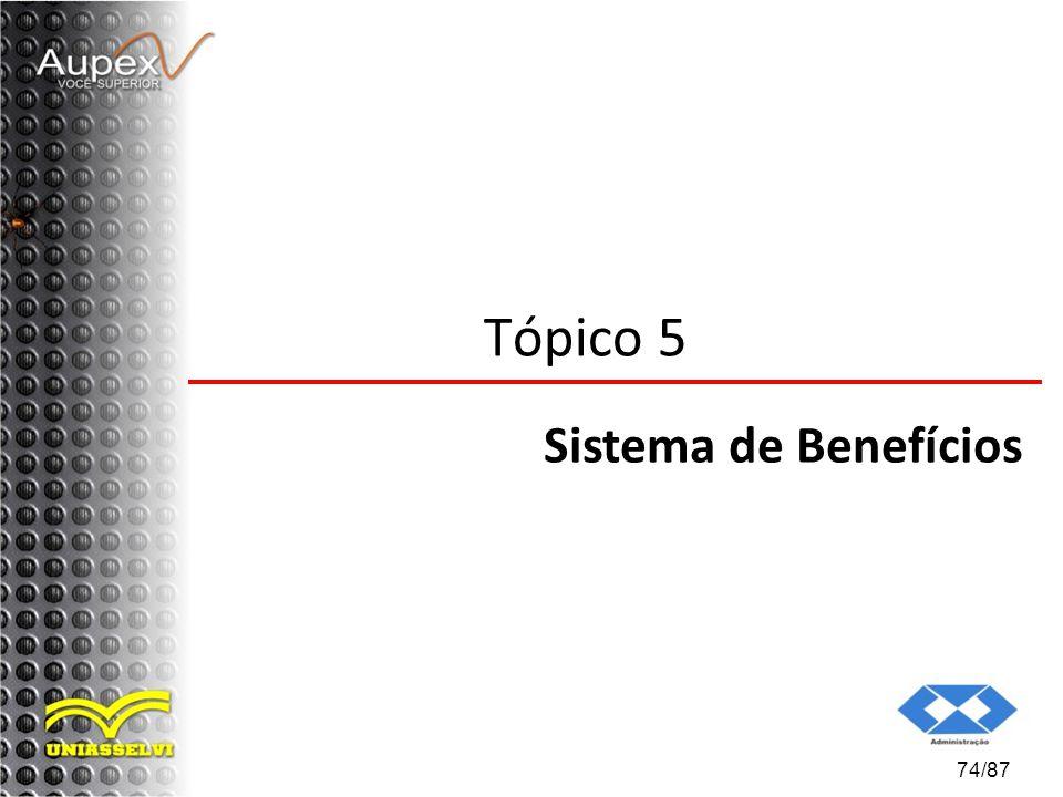 74/87 Tópico 5 Sistema de Benefícios