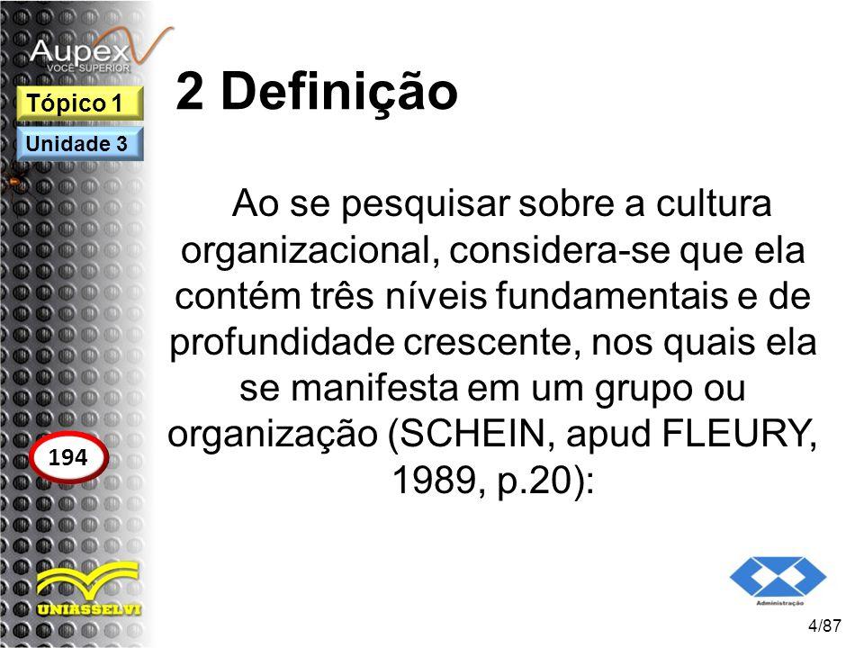 2 Definição Ao se pesquisar sobre a cultura organizacional, considera-se que ela contém três níveis fundamentais e de profundidade crescente, nos quai