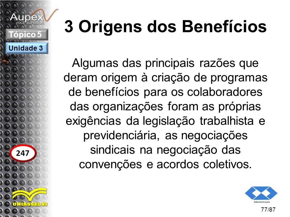 3 Origens dos Benefícios Algumas das principais razões que deram origem à criação de programas de benefícios para os colaboradores das organizações fo