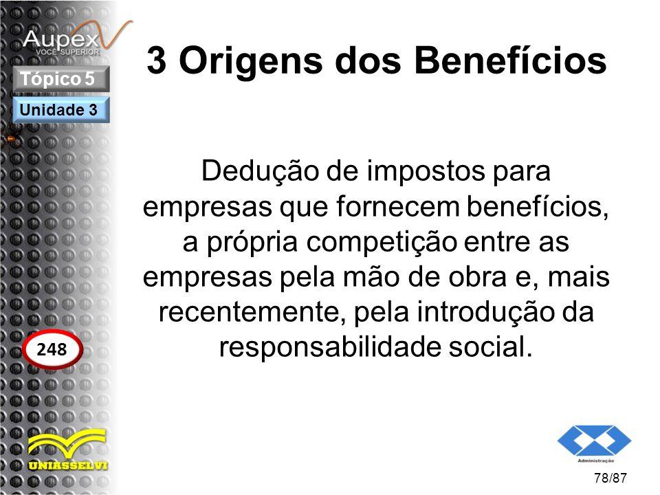 3 Origens dos Benefícios Dedução de impostos para empresas que fornecem benefícios, a própria competição entre as empresas pela mão de obra e, mais re