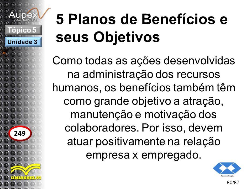 5 Planos de Benefícios e seus Objetivos Como todas as ações desenvolvidas na administração dos recursos humanos, os benefícios também têm como grande