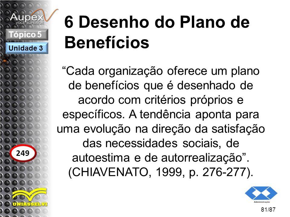 """6 Desenho do Plano de Benefícios """"Cada organização oferece um plano de benefícios que é desenhado de acordo com critérios próprios e específicos. A te"""