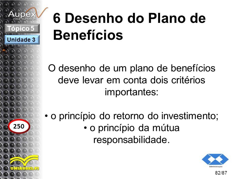 6 Desenho do Plano de Benefícios O desenho de um plano de benefícios deve levar em conta dois critérios importantes: o princípio do retorno do investi
