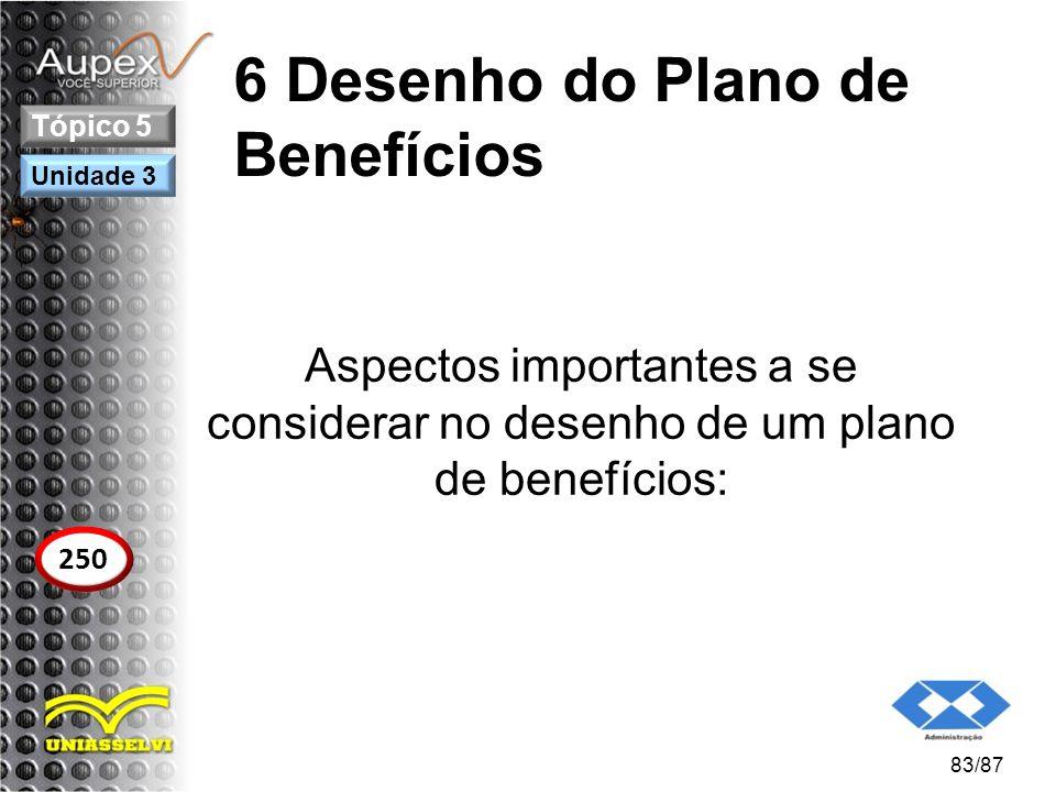 6 Desenho do Plano de Benefícios Aspectos importantes a se considerar no desenho de um plano de benefícios: 83/87 Tópico 5 250 Unidade 3