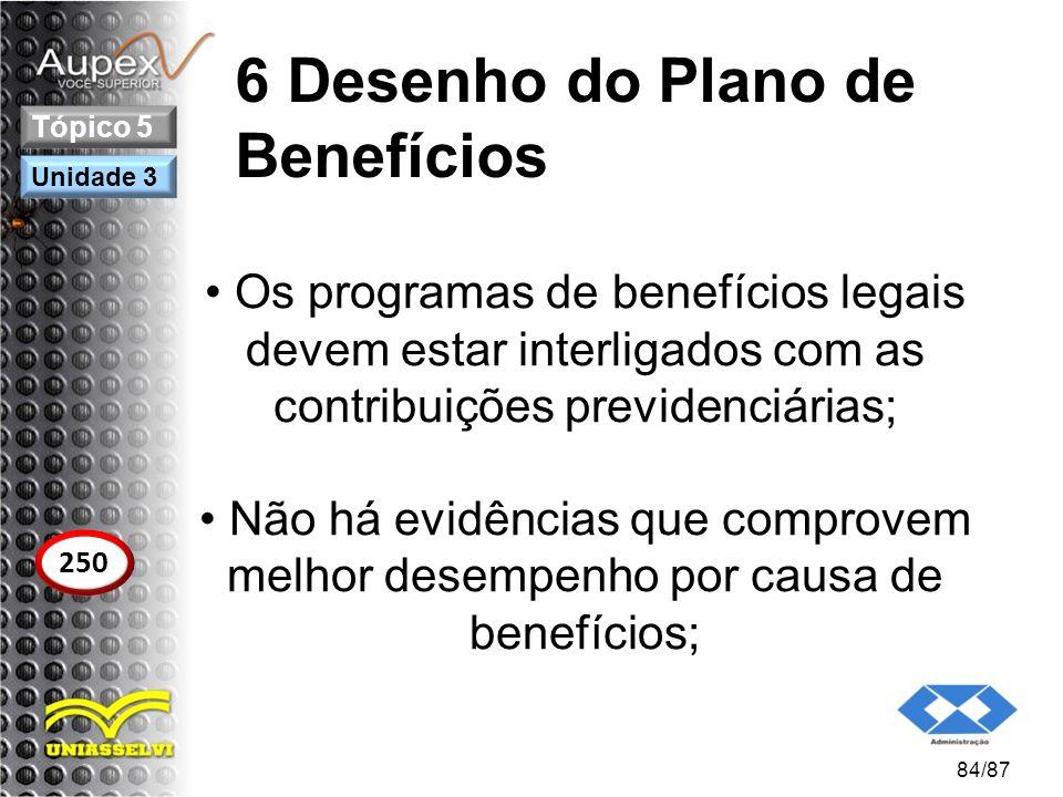 6 Desenho do Plano de Benefícios Os programas de benefícios legais devem estar interligados com as contribuições previdenciárias; Não há evidências qu