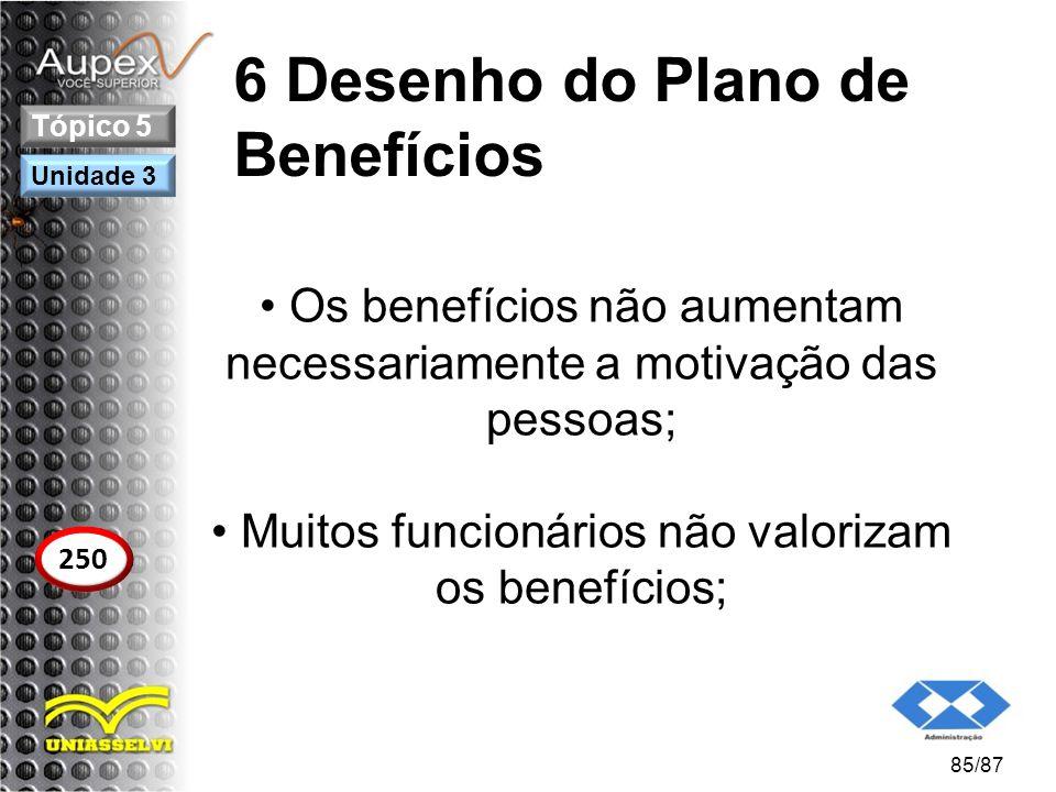 6 Desenho do Plano de Benefícios Os benefícios não aumentam necessariamente a motivação das pessoas; Muitos funcionários não valorizam os benefícios;
