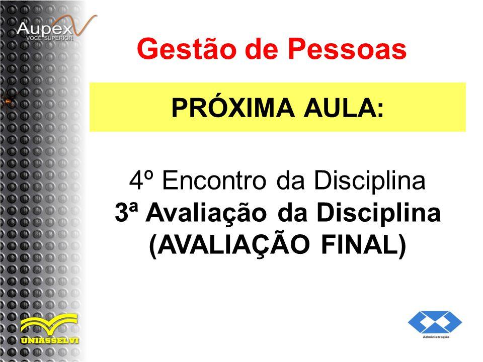 PRÓXIMA AULA: Gestão de Pessoas 4º Encontro da Disciplina 3ª Avaliação da Disciplina (AVALIAÇÃO FINAL)
