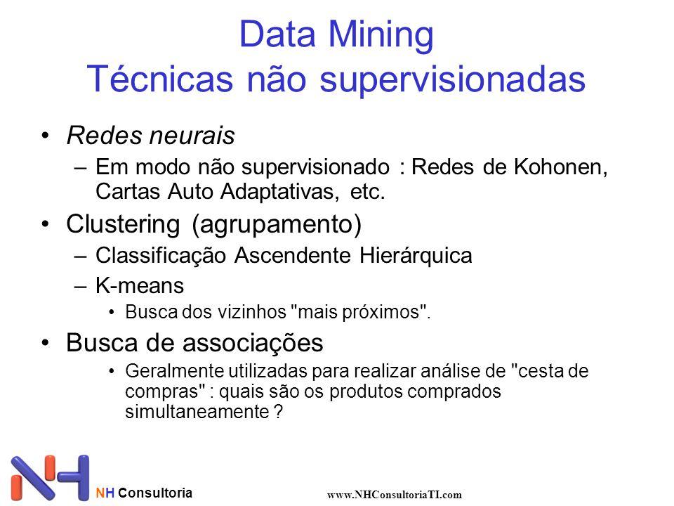 NH Consultoria www.NHConsultoriaTI.com Data Mining Técnicas não supervisionadas Redes neurais –Em modo não supervisionado : Redes de Kohonen, Cartas Auto Adaptativas, etc.