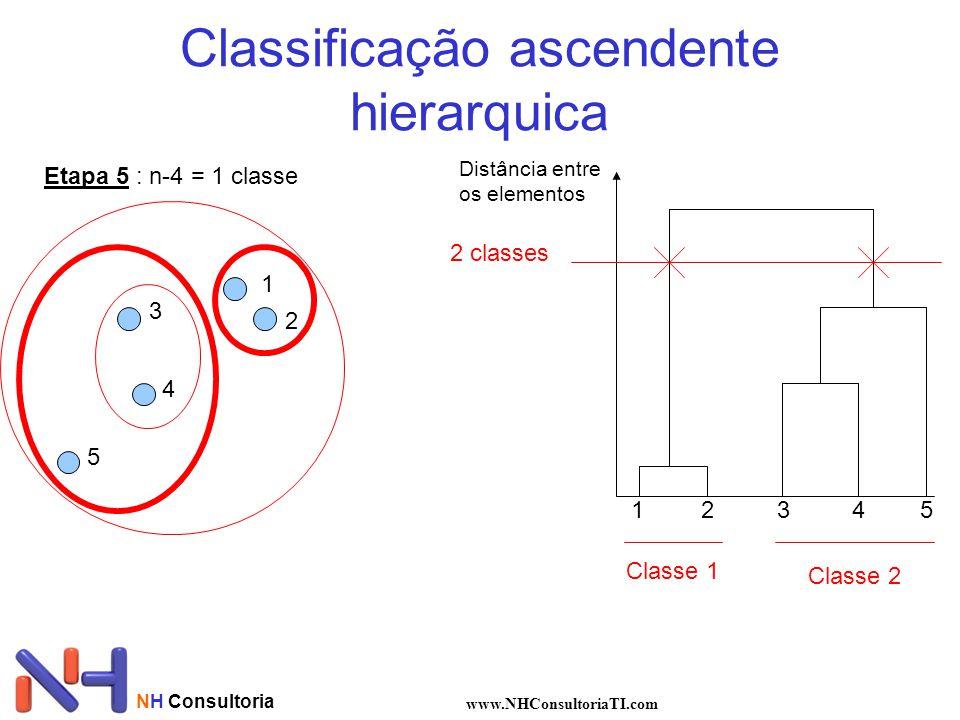 NH Consultoria www.NHConsultoriaTI.com Classificação ascendente hierarquica 1 2 3 4 5 Distância entre os elementos 12345 2 classes Classe 1 Classe 2 Etapa 5 : n-4 = 1 classe
