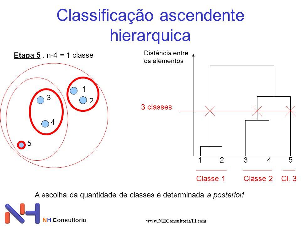 NH Consultoria www.NHConsultoriaTI.com Classificação ascendente hierarquica 1 2 3 4 5 Distância entre os elementos 12345 3 classes Classe 1Classe 2 Cl.