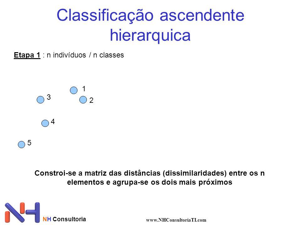 NH Consultoria www.NHConsultoriaTI.com Classificação ascendente hierarquica Etapa 1 : n indivíduos / n classes 1 2 3 4 5 Constroi-se a matriz das distâncias (dissimilaridades) entre os n elementos e agrupa-se os dois mais próximos