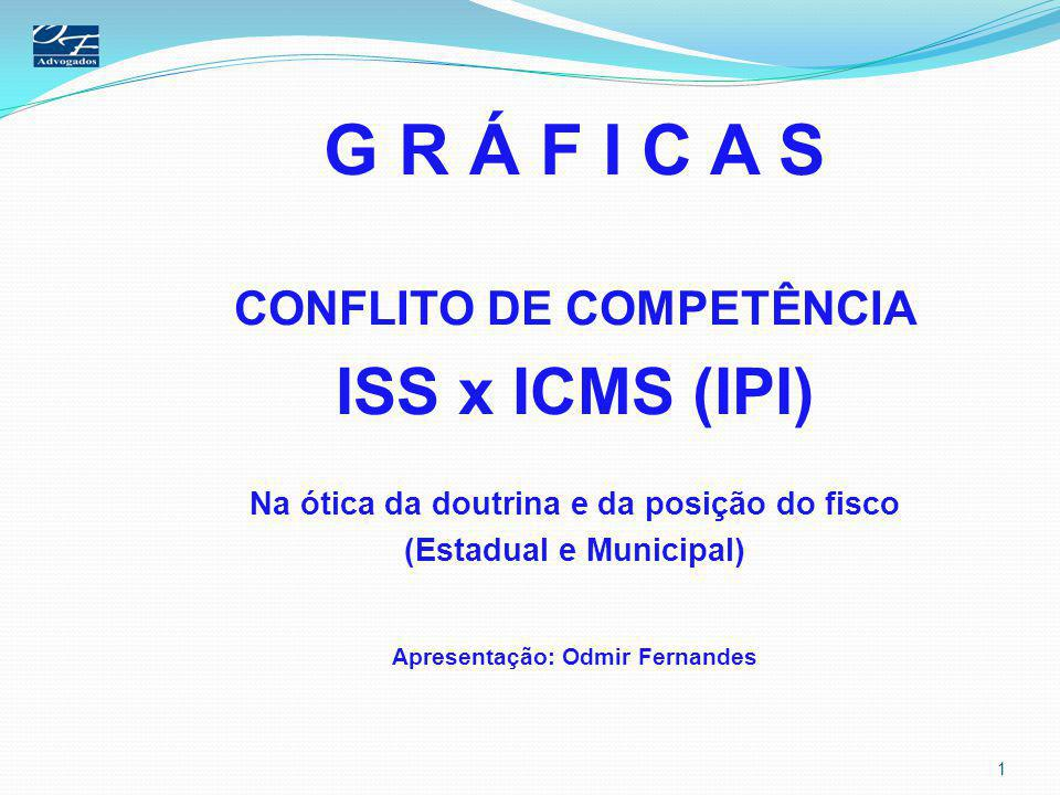 G R Á F I C A S ISS x ICMS Parecer Normativo PMSP 01, de 1979 I - Atividades sujeitas ao ISS: a) Composição gráfica em geral, por qualquer meio e em todas as sua fases, inclusive os serviços de clicheria, zincografia, litografia, fotolitografia e outras matrizes de impressão; b) Impressão gráfica,em geral, com ou sem fornecimento de material, seja adquirido de terceiros ou fornecimentos pelo próprio encomendante; c) acabamento gráfico II - Atividades não sujeita ao ISS: A confecção de impressos em geral que se destinem a comercialização ou a industrialização.
