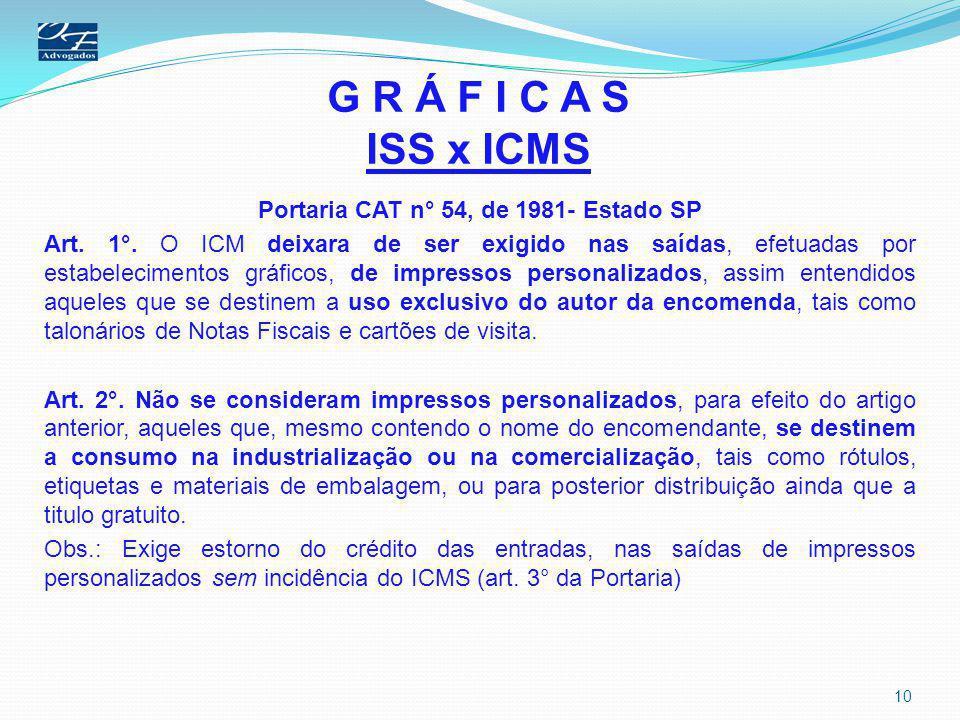 G R Á F I C A S ISS x ICMS Portaria CAT n° 54, de 1981- Estado SP Art. 1°. O ICM deixara de ser exigido nas saídas, efetuadas por estabelecimentos grá