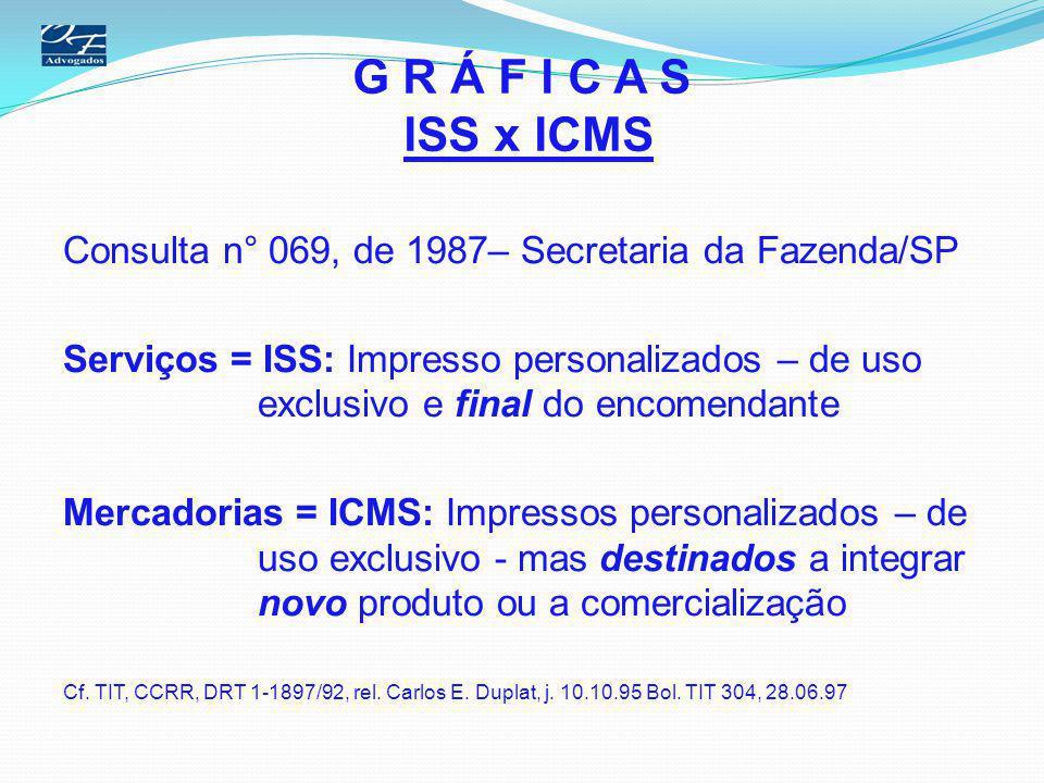 G R Á F I C A S ISS x ICMS Consulta n° 069, de 1987– Secretaria da Fazenda/SP Serviços = ISS: Impresso personalizados – de uso exclusivo e final do en