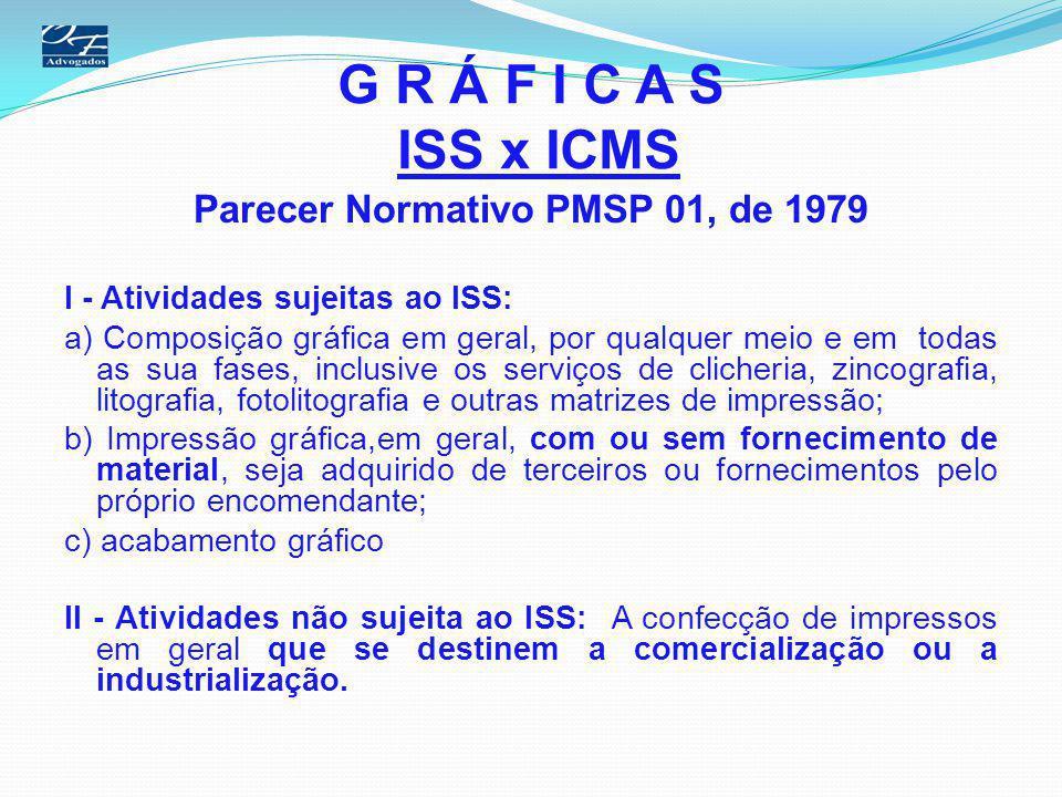 G R Á F I C A S ISS x ICMS Parecer Normativo PMSP 01, de 1979 I - Atividades sujeitas ao ISS: a) Composição gráfica em geral, por qualquer meio e em t