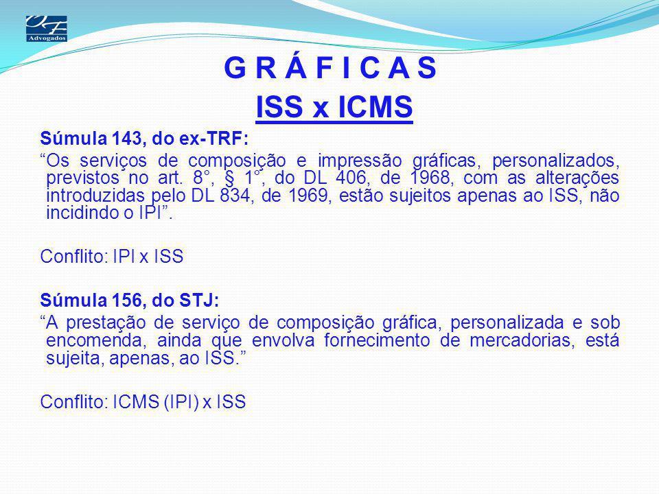 G R Á F I C A S ISS x ICMS Portaria SF n° 42, de 1995 - PMSP Sujeita ao ISS: I- Na confecção de rótulos, etiquetas, bulas, embalagens, manuais de instrução e assemelhados que contenham o nome do encomendante e, ainda, que venham a integrar produto destinado a industrialização ou comercialização; II- Na confecção de impressos, tais como folhetos, livretos, posteres e assemelhados, caracterizados como de promoção ou propaganda de serviços, atividade ou produtos, destinados a posterior distribuição, ainda que a titulo gratuito.