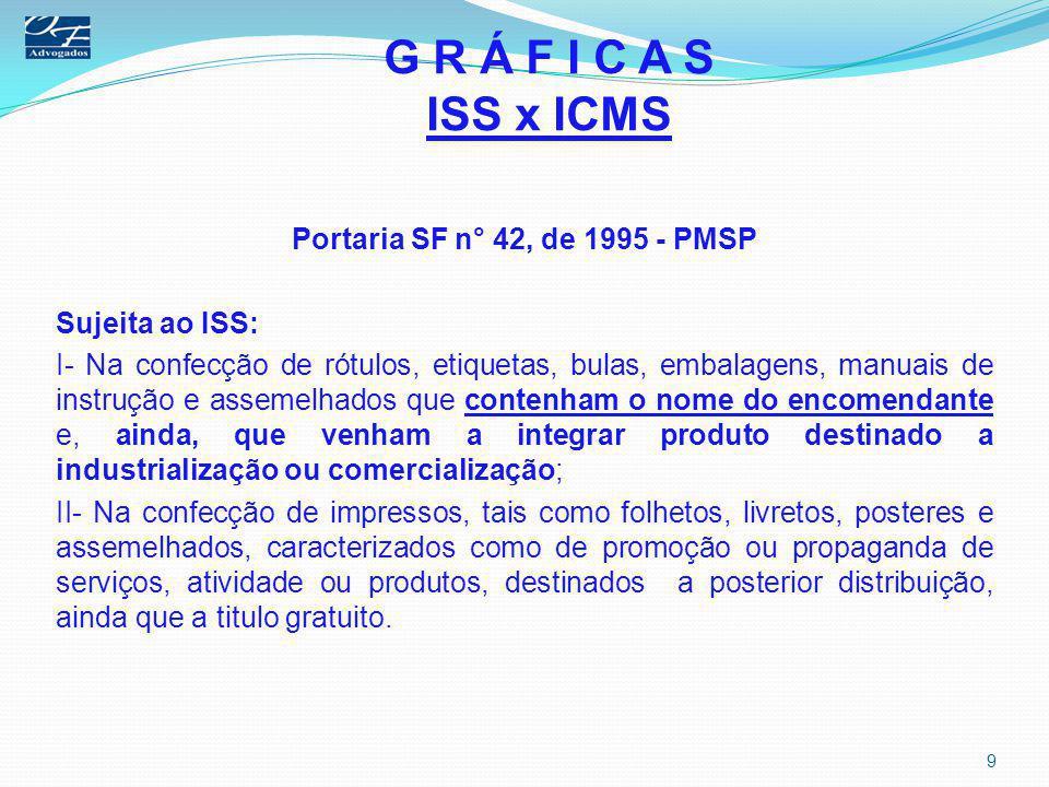 G R Á F I C A S ISS x ICMS Portaria SF n° 42, de 1995 - PMSP Sujeita ao ISS: I- Na confecção de rótulos, etiquetas, bulas, embalagens, manuais de inst