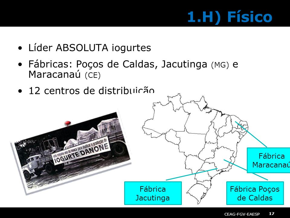 CEAG-FGV-EAESP Gestão de Operações 17 Líder ABSOLUTA iogurtes Fábricas: Poços de Caldas, Jacutinga (MG) e Maracanaú (CE) 12 centros de distribuição 1.