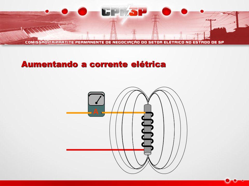 A Aumentando a corrente elétrica