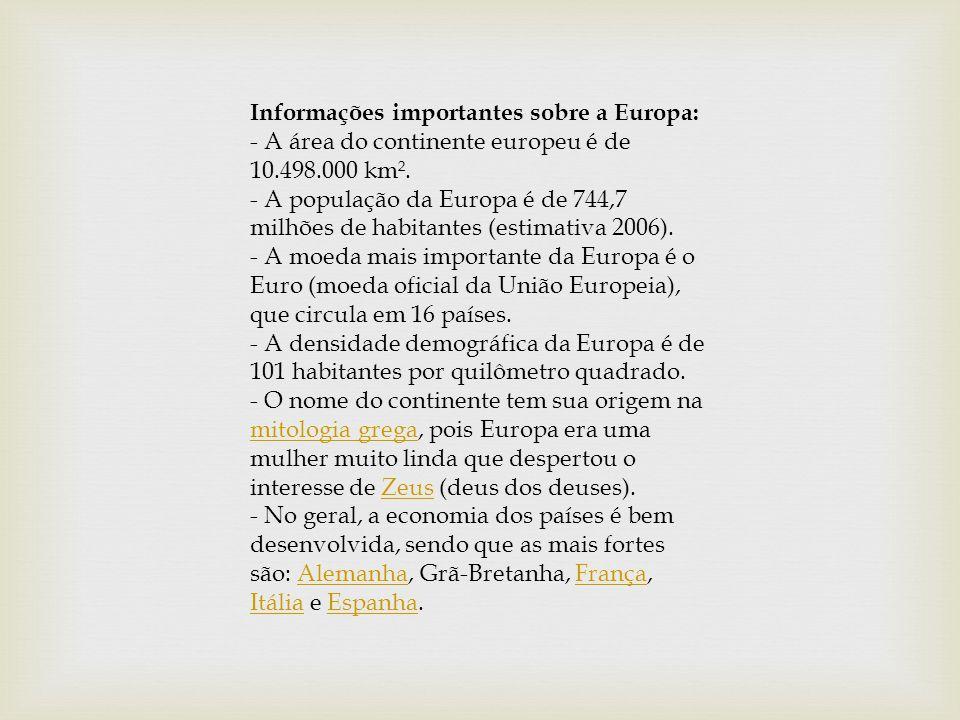 Informações importantes sobre a Europa: - A área do continente europeu é de 10.498.000 km². - A população da Europa é de 744,7 milhões de habitantes (